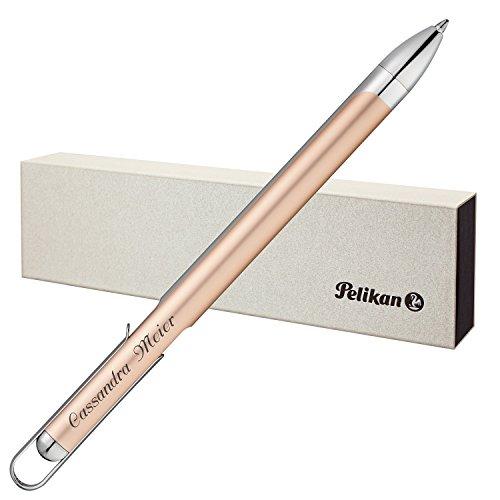 41tx6WqyKvL - Pelikan Kugelschreiber VIO Champagner mit persönlicher Laser-Gravur aus Aluminium mit Hochglanz verchromten Metallbeschlägen