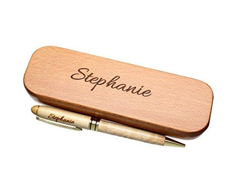 kugelschreiber mit wunsch name graviert in geschenk schachtel aus holz die geschenkidee stift gravur - Kugelschreiber mit Wunsch-Name graviert in Geschenk-Schachtel aus Holz die Geschenkidee Stift gravur