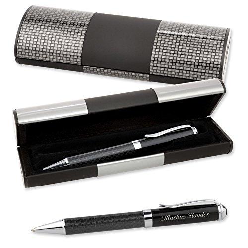 logic etui mit kugelschreiber carbon und edler wunsch gravur - LOGIC-Etui mit Kugelschreiber CARBON und edler Wunsch-Gravur
